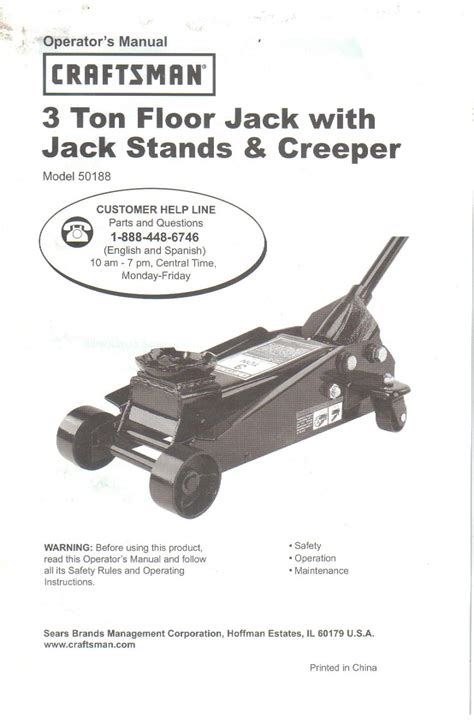 sears 3 ton floor jack owner s operator s manual