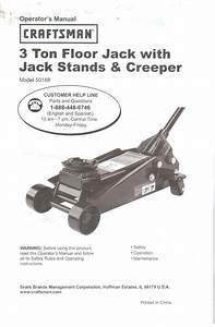 Sears 3 Ton Floor Jack Owner U0026 39 S Operator U0026 39 S Manual