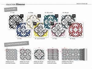 Stickers Carreaux De Ciment : sticker carreaux de ciment simone bleu canard ~ Melissatoandfro.com Idées de Décoration