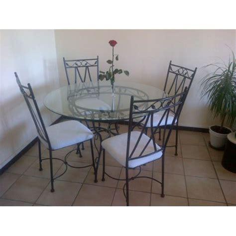 table verre et fer forg 233 4 chaises conforama pas cher