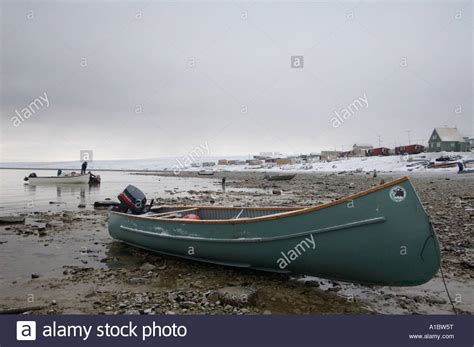 Up Boat by Small Boats Pulled Up On Shore Used For By Inuit