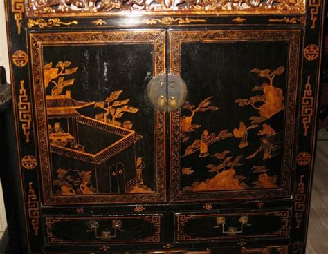 century chinese black  gold lacquer cabinet