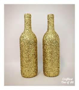set of two gold glitter wine bottles wedding decor home