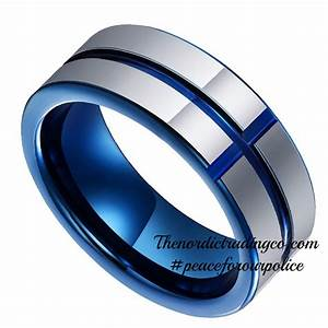 Tungsten Carbide Band Thin Blue Line Cross Inlay Police