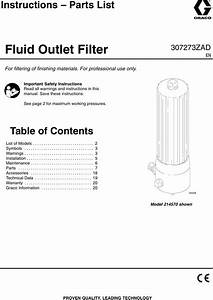 Graco 307273zad Fluid Outlet Filter Users Manual Filter