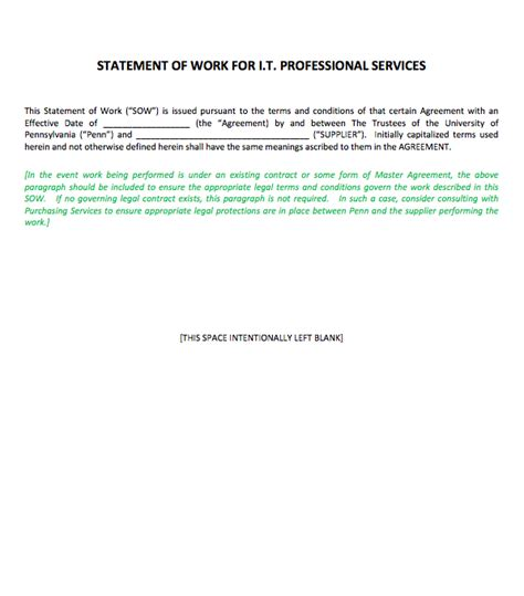 statement of work template for professional services statement of work template for professional services top form templates free templates