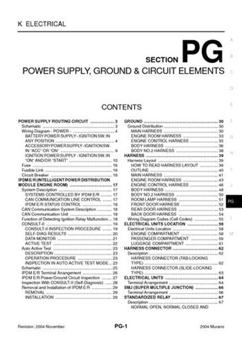 Nissan Murano Power Supply Ground Circuit