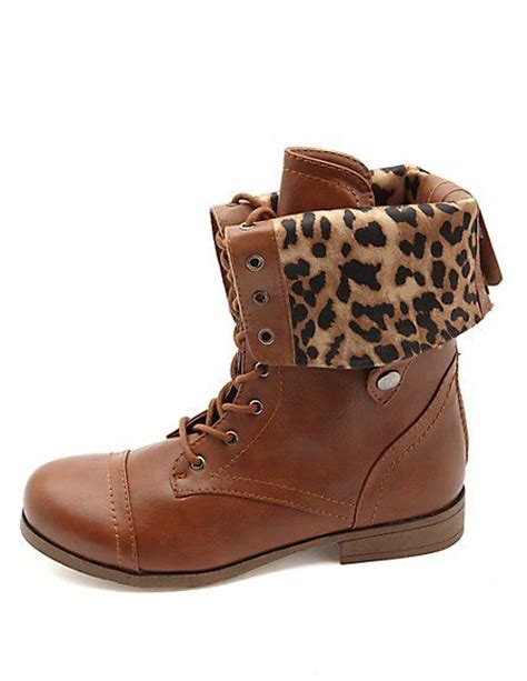 cheetah boots cheetah lined fold combat boots russe