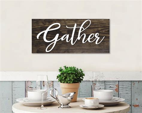 Price and stock could change after publish date, and we may make money from these links. gather sign, dining room sign, 3D gather wood cutout sign, dining room wall decor, farmhouse ...