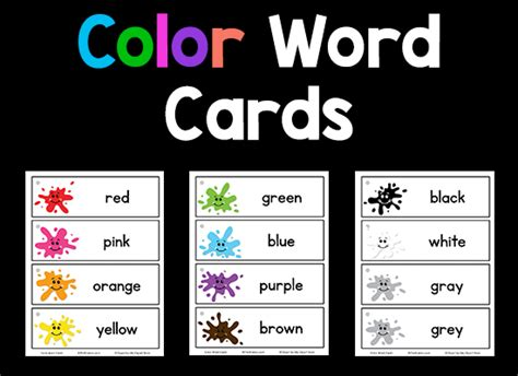 color world color word cards prekinders