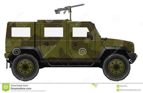 military jeep with gun military vehicle with machine gun stock illustration