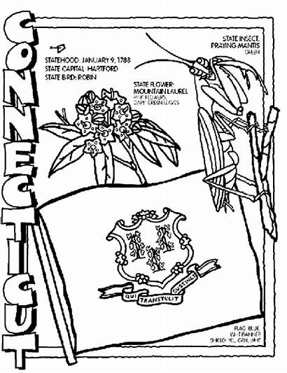 Coloring Pages Crayola Connecticut State Flag Symbol