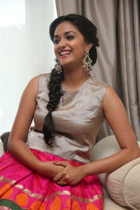 Keerthy Suresh Smiling Photos At Audio Launch In Pink