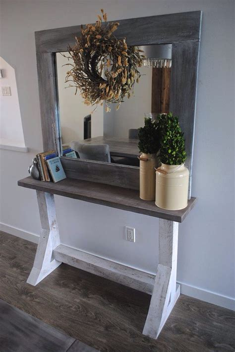 grey washed farmhouse sofa table  rugged rooster