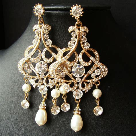 gold chandelier bridal wedding earrings statement gold bridal