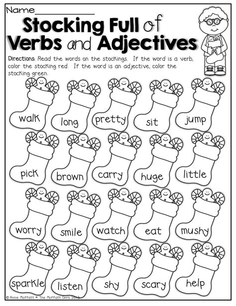 christmas adjectives worksheet festival collections
