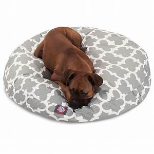 gray trellis large round pet bed With big round dog bed