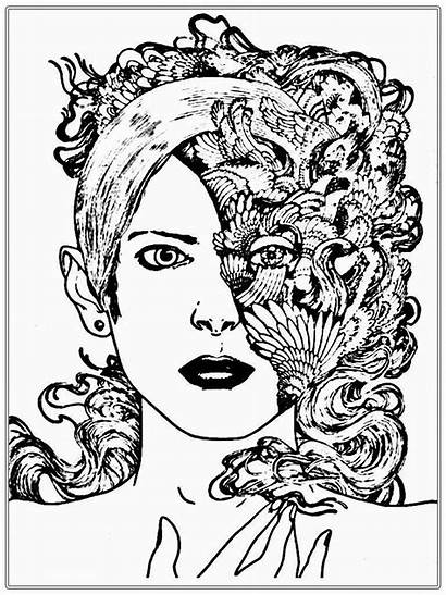 Coloring Pages Faces Adults Realistic Printable Adult