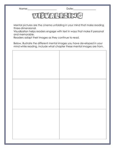 neat visualizing worksheet ideas for school
