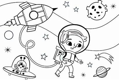 Coloring Space Alien Pages Illustration Vector Printable