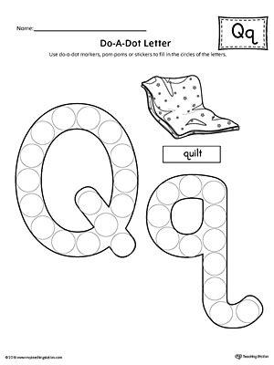 letter q do a dot worksheet myteachingstation
