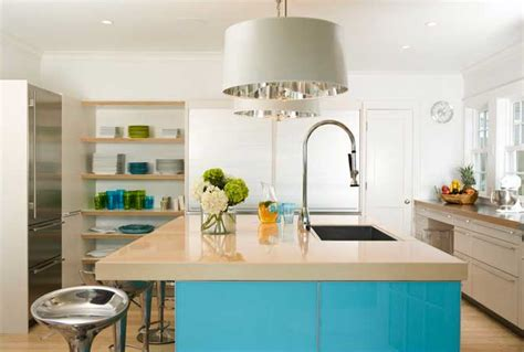aqua kitchen island cottage modern color in kitchens 1326