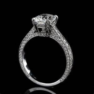 gold micro pave engagement ring cushion micro pave engagement ring 18k white gold mouning orospot on artfire