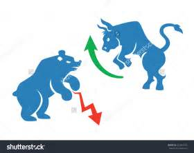 Vector <b>Stock Market</b> Icons, Bear And <b>Bull</b> With Red And Green Arrows ...