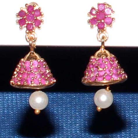 gram jewellery jhumkas small ruby jhumka  pair