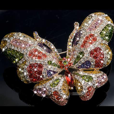 18k gold gp made with swarovski crystal luxury butterfly