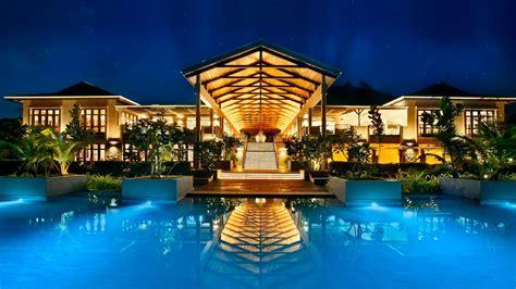 fascinating swimming pool  night seychelles hd