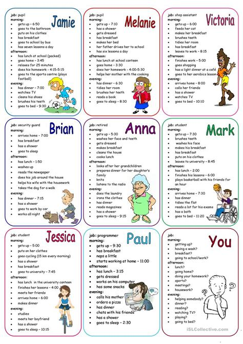 daily routines speaking cards english esl worksheets