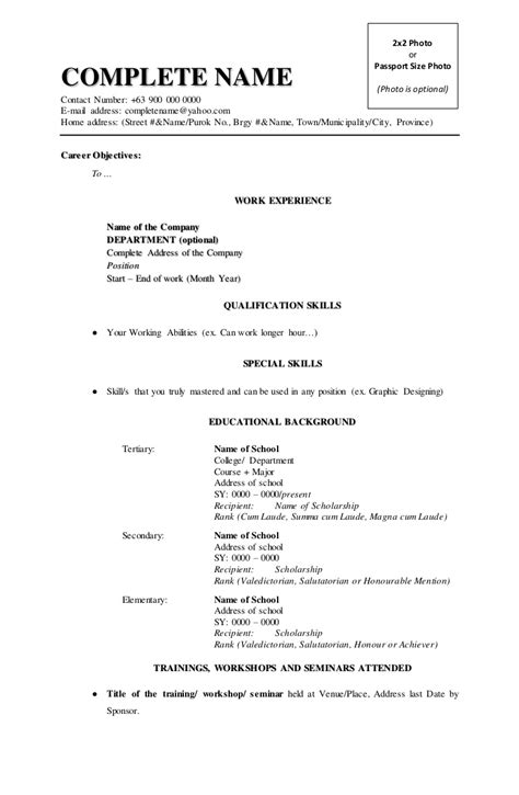 Create Free Resume On Phone by Resume Format