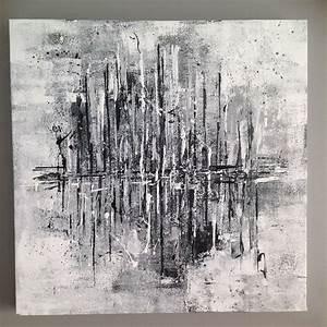 Peinture En Noir Et Blanc : tableau abstrait noir et blanc temp te 50x50 d corations murales par made by l tableau ~ Melissatoandfro.com Idées de Décoration