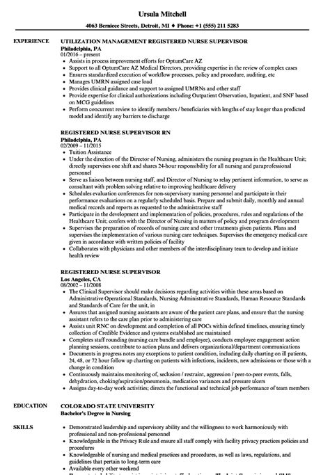 Registered Resumes by Nursing Supervisor Resume Talktomartyb