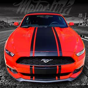 2015 2016 2017 Ford Mustang Convertible Center Rally Stripes Decals Racing - MotorINK