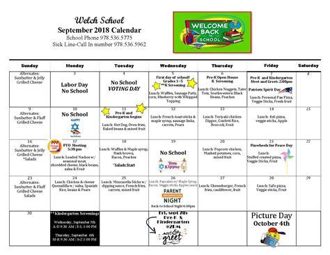 september calendar peabody public schools