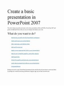 Create A Basic Presentation In Powerpoint 2007 Docx