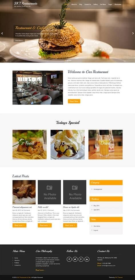 restaurant wordpress theme  bistro food