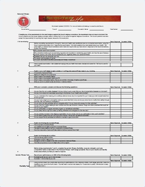 personal fitness merit badge worksheet filled out berry