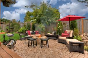 pit water feature pergola paver courtyard traditional patio portland by