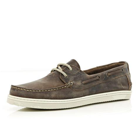 Distressed Boat Shoes by River Island Brown Distressed Boat Shoes In Brown For