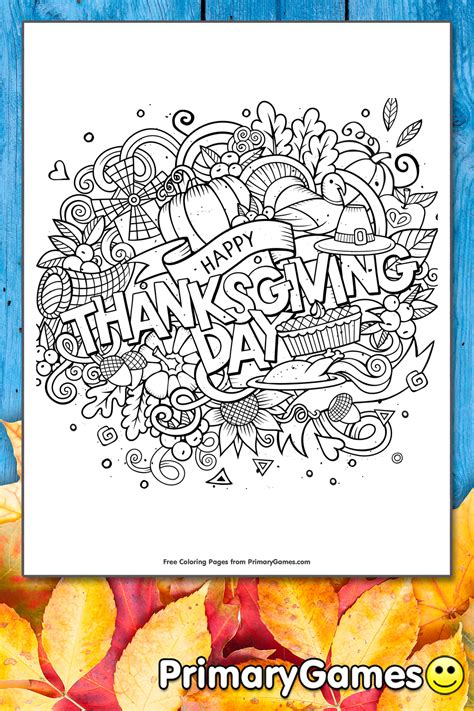 happy thanksgiving day coloring page printable thanksgiving coloring  primarygames