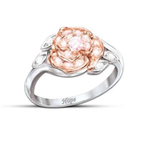rose  hope womens ring breast cancer hope gift