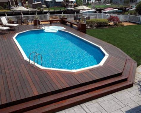 dodecagon  sided pool deck  hard wood decking