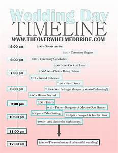 Your wedding day timeline the overwhelmed bride for Wedding day schedule of events template