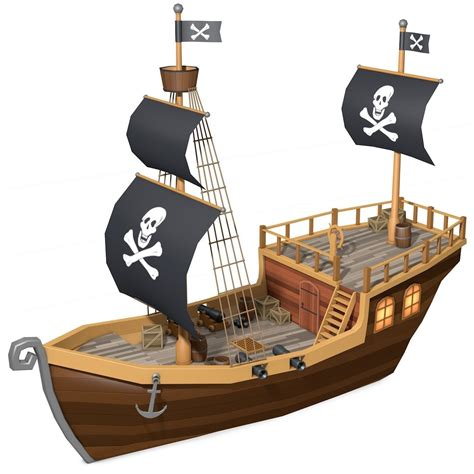 Cartoon Boat C4d by 3d Model Low Poly Pirate Ship Vr Ar Low Poly Obj 3ds