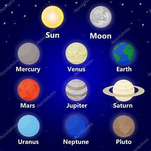 Sluneční soustava, slunce, planety a hvězdy — Stock Vektor ...