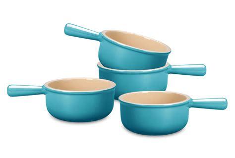 le creuset stoneware  oz french onion soup bowl set  piece caribbean cutlery