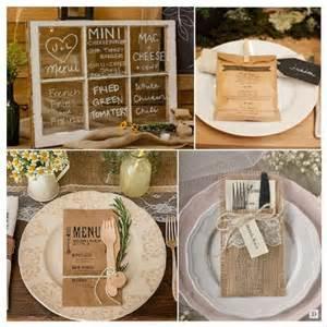 mariage rustique mariage rustique chêtre menu sur fenêtre menu sur sac en papier personnalisé pochette en